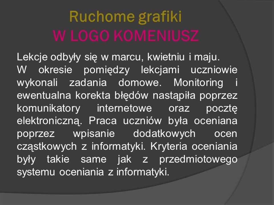 Ruchome grafiki W LOGO KOMENIUSZ Lekcje odbyły się w marcu, kwietniu i maju.