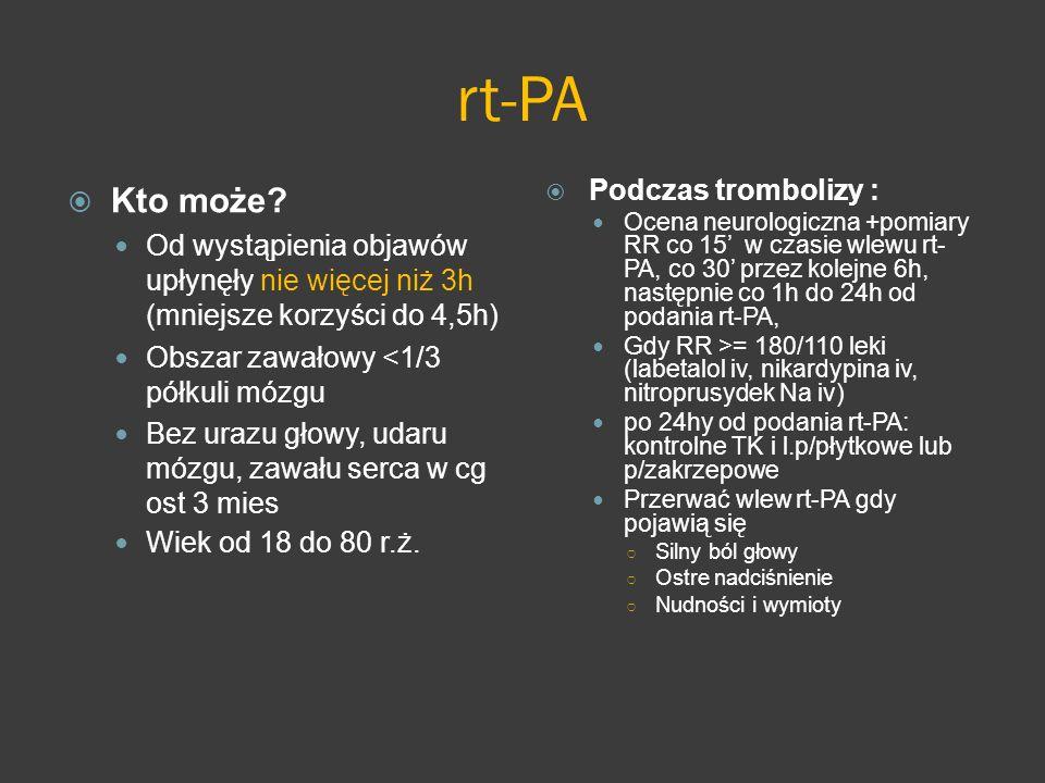 rt-PA Kto może? Od wystąpienia objawów upłynęły nie więcej niż 3h (mniejsze korzyści do 4,5h) Obszar zawałowy <1/3 półkuli mózgu Bez urazu głowy, udar