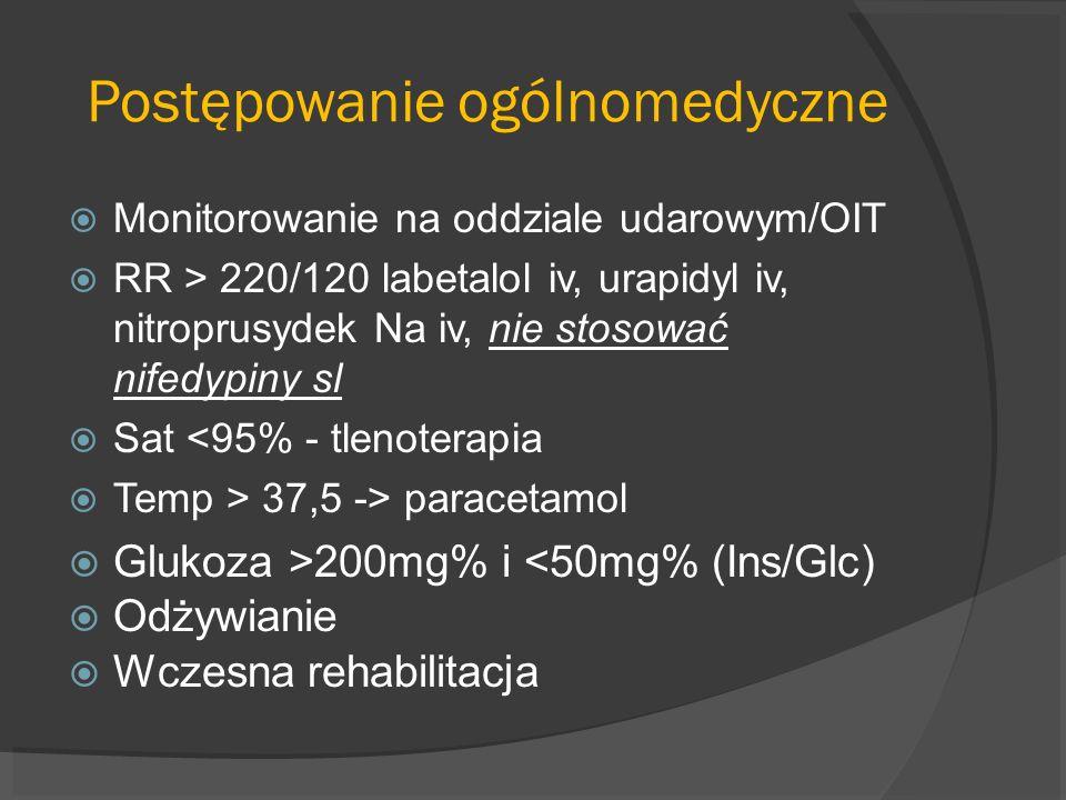 Postępowanie ogólnomedyczne Monitorowanie na oddziale udarowym/OIT RR > 220/120 labetalol iv, urapidyl iv, nitroprusydek Na iv, nie stosować nifedypin