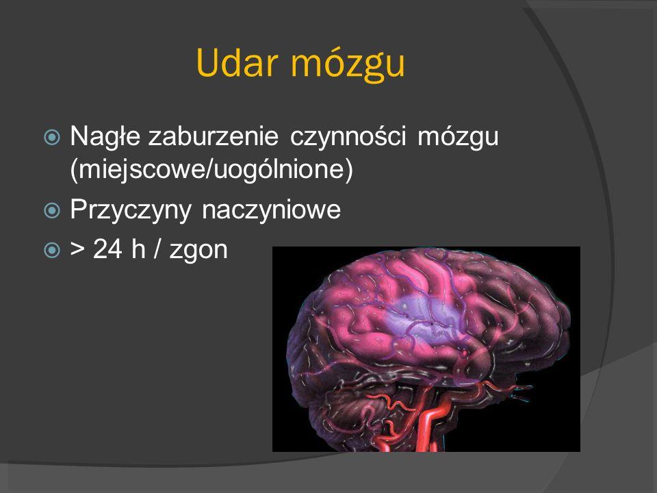 Udar mózgu Nagłe zaburzenie czynności mózgu (miejscowe/uogólnione) Przyczyny naczyniowe > 24 h / zgon