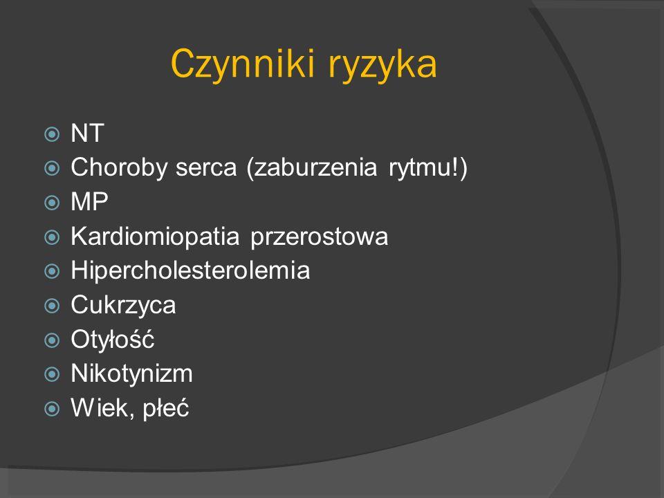 Czynniki ryzyka NT Choroby serca (zaburzenia rytmu!) MP Kardiomiopatia przerostowa Hipercholesterolemia Cukrzyca Otyłość Nikotynizm Wiek, płeć