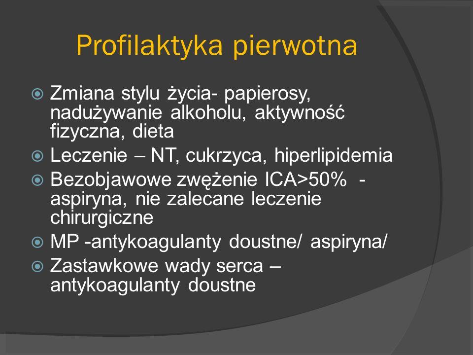 Profilaktyka pierwotna Zmiana stylu życia- papierosy, nadużywanie alkoholu, aktywność fizyczna, dieta Leczenie – NT, cukrzyca, hiperlipidemia Bezobjaw