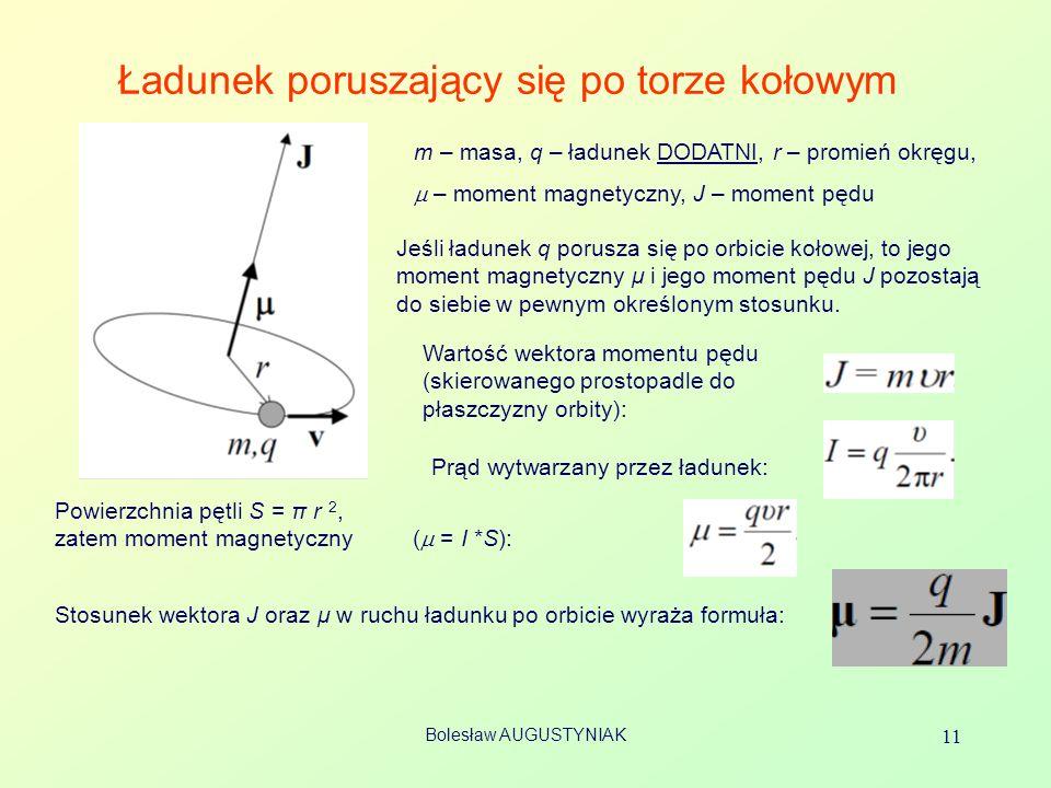 Bolesław AUGUSTYNIAK 11 Ładunek poruszający się po torze kołowym m – masa, q – ładunek DODATNI, r – promień okręgu, – moment magnetyczny, J – moment pędu Jeśli ładunek q porusza się po orbicie kołowej, to jego moment magnetyczny μ i jego moment pędu J pozostają do siebie w pewnym określonym stosunku.