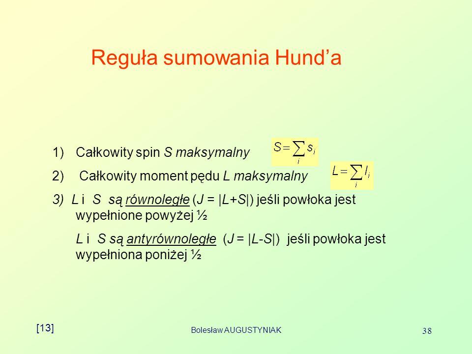Bolesław AUGUSTYNIAK 38 Reguła sumowania Hunda 1)Całkowity spin S maksymalny 2) Całkowity moment pędu L maksymalny 3) L i S są równoległe (J = |L+S|) jeśli powłoka jest wypełnione powyżej ½ L i S są antyrównoległe (J = |L-S|) jeśli powłoka jest wypełniona poniżej ½ [13]