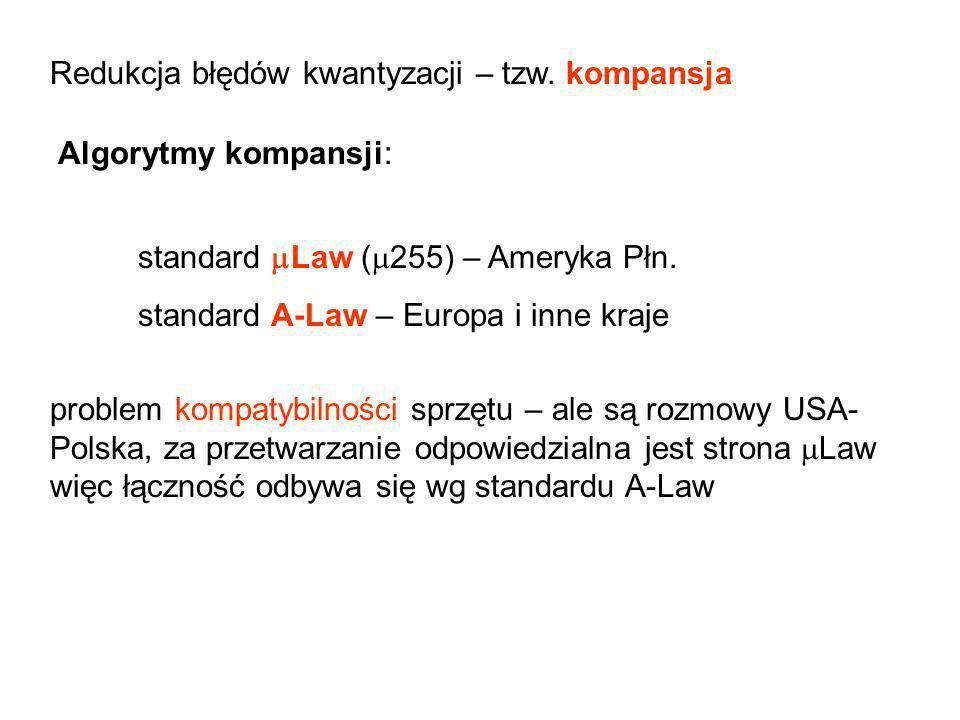 Redukcja błędów kwantyzacji – tzw. kompansja Algorytmy kompansji: standard Law ( 255) – Ameryka Płn. standard A-Law – Europa i inne kraje problem komp