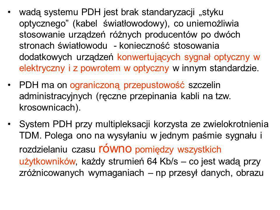 wadą systemu PDH jest brak standaryzacji styku optycznego (kabel światłowodowy), co uniemożliwia stosowanie urządzeń różnych producentów po dwóch stro