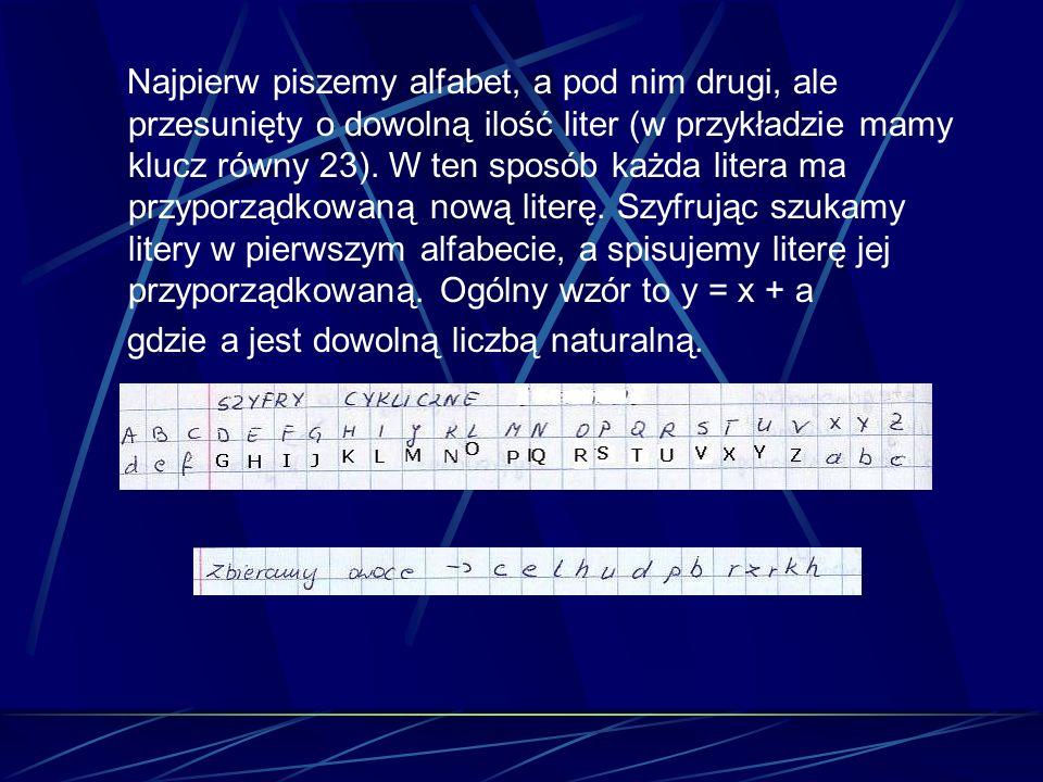 Najpierw piszemy alfabet, a pod nim drugi, ale przesunięty o dowolną ilość liter (w przykładzie mamy klucz równy 23). W ten sposób każda litera ma prz