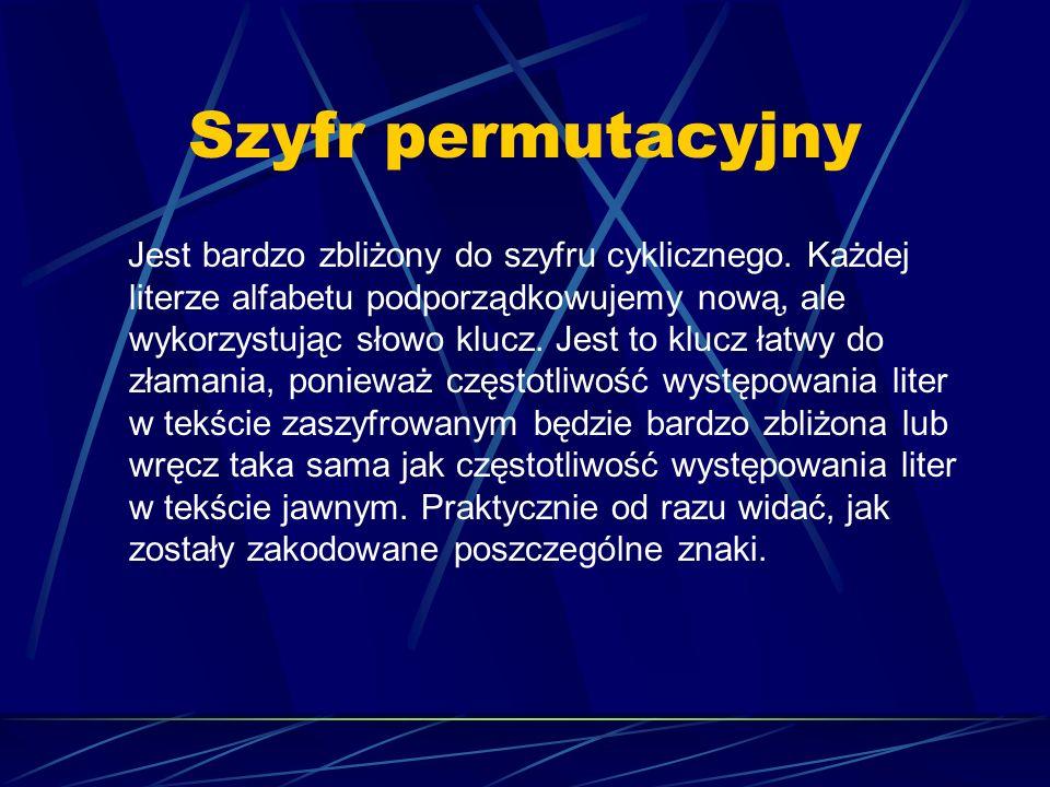 Szyfr permutacyjny Jest bardzo zbliżony do szyfru cyklicznego. Każdej literze alfabetu podporządkowujemy nową, ale wykorzystując słowo klucz. Jest to