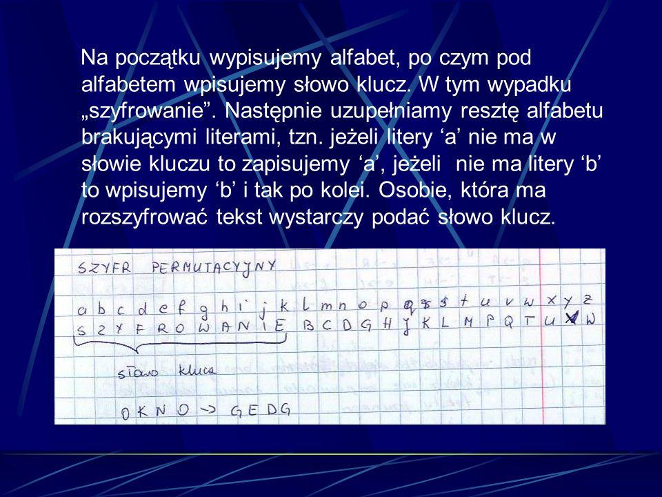 Na początku wypisujemy alfabet, po czym pod alfabetem wpisujemy słowo klucz. W tym wypadku szyfrowanie. Następnie uzupełniamy resztę alfabetu brakując