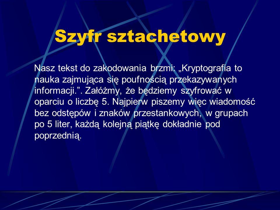 Szyfr sztachetowy Nasz tekst do zakodowania brzmi: Kryptografia to nauka zajmująca się poufnością przekazywanych informacji.. Załóżmy, że będziemy szy