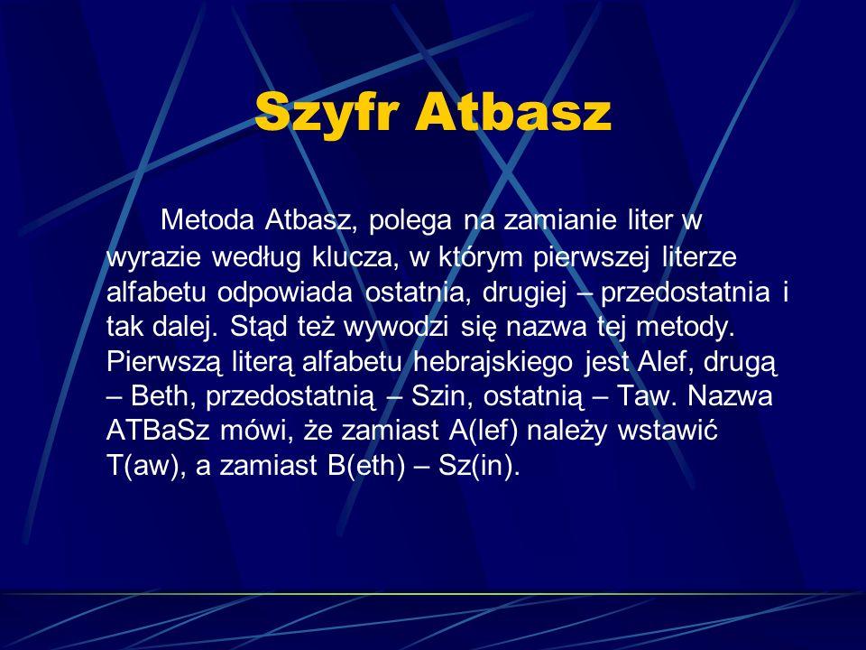 Szyfr Atbasz Metoda Atbasz, polega na zamianie liter w wyrazie według klucza, w którym pierwszej literze alfabetu odpowiada ostatnia, drugiej – przedo