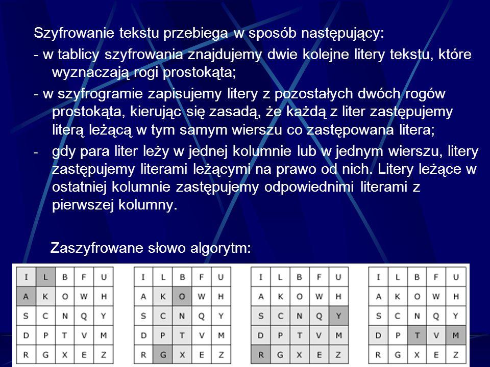Szyfrowanie tekstu przebiega w sposób następujący: - w tablicy szyfrowania znajdujemy dwie kolejne litery tekstu, które wyznaczają rogi prostokąta; -