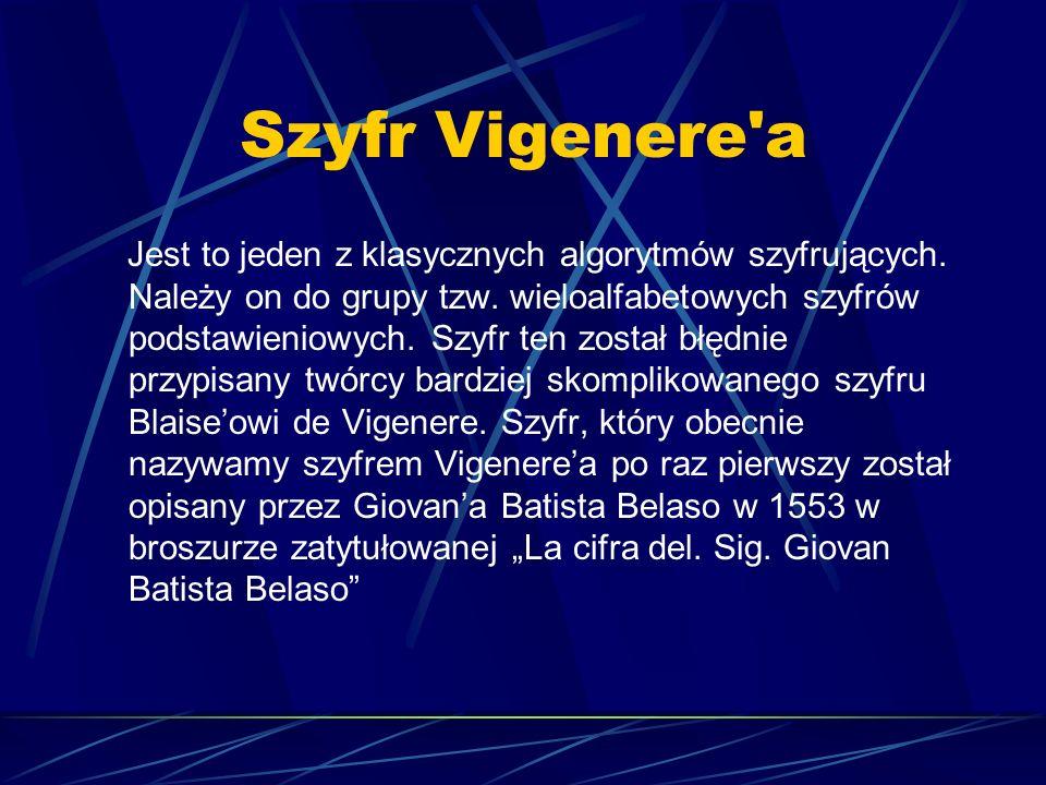 Szyfr Vigenere'a Jest to jeden z klasycznych algorytmów szyfrujących. Należy on do grupy tzw. wieloalfabetowych szyfrów podstawieniowych. Szyfr ten zo