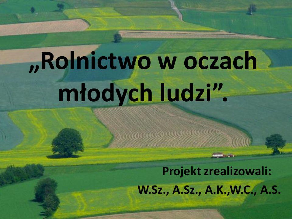 Rolnictwo w oczach młodych ludzi. Projekt zrealizowali: W.Sz., A.Sz., A.K.,W.C., A.S.
