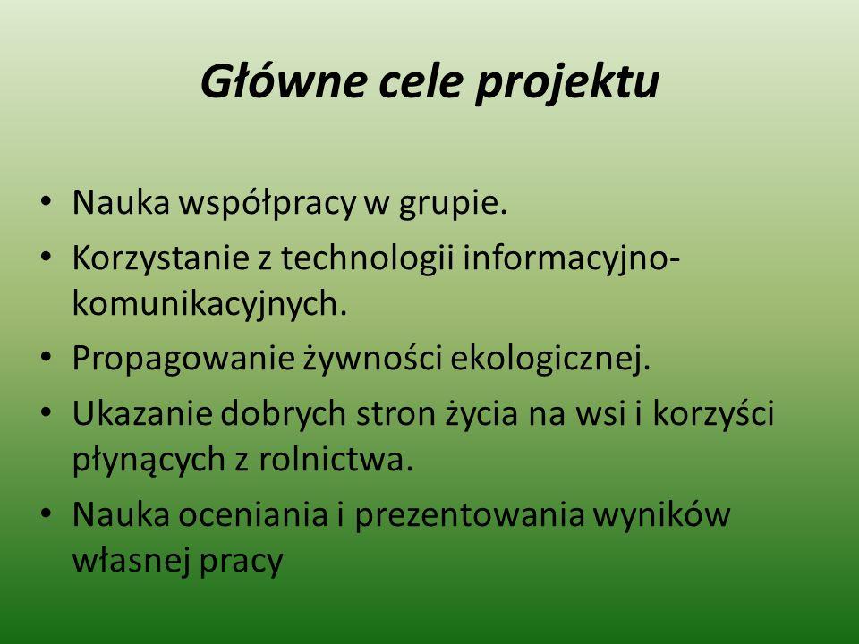 Główne cele projektu Nauka współpracy w grupie. Korzystanie z technologii informacyjno- komunikacyjnych. Propagowanie żywności ekologicznej. Ukazanie