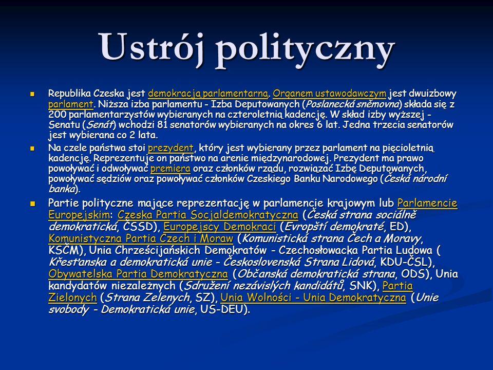 Ustrój polityczny Republika Czeska jest demokracją parlamentarną. Organem ustawodawczym jest dwuizbowy parlament. Niższa izba parlamentu - Izba Deputo