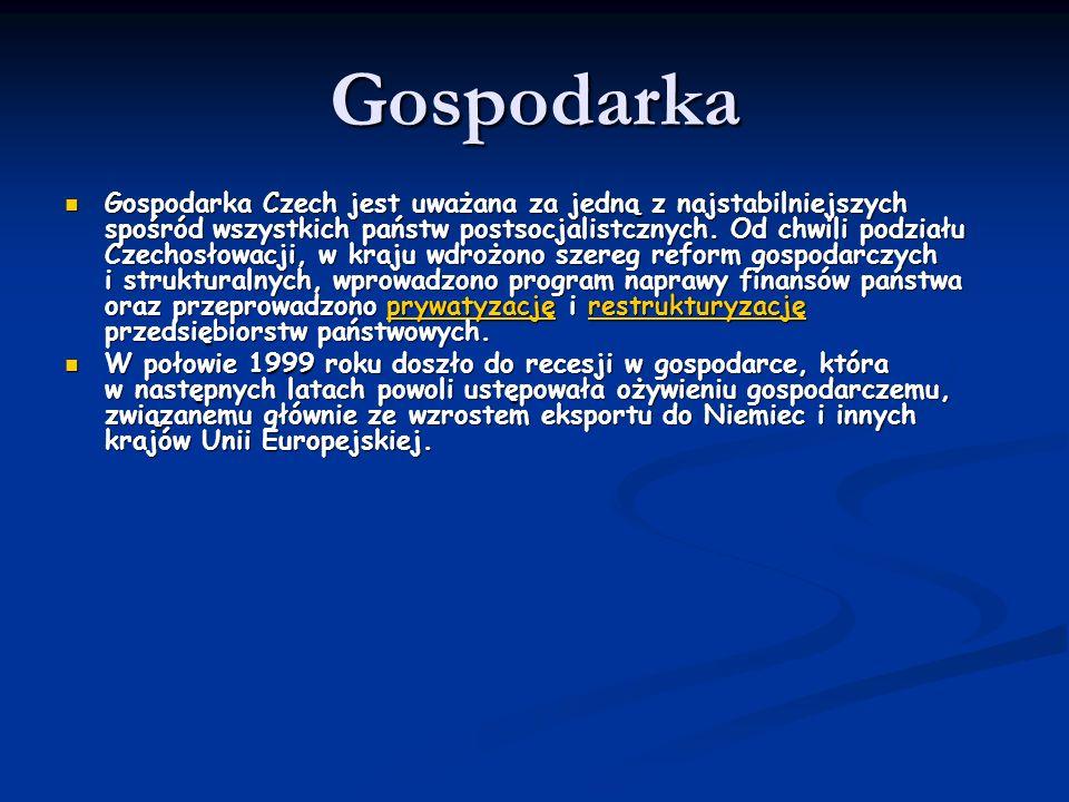 Gospodarka Gospodarka Czech jest uważana za jedną z najstabilniejszych spośród wszystkich państw postsocjalistcznych. Od chwili podziału Czechosłowacj