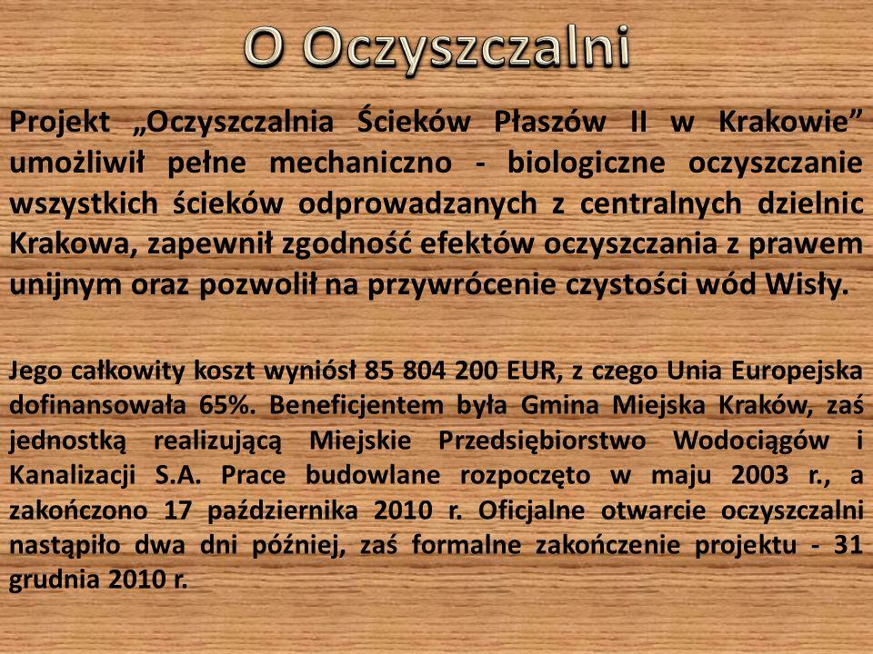 Projekt Oczyszczalnia Ścieków Płaszów II w Krakowie umożliwił pełne mechaniczno - biologiczne oczyszczanie wszystkich ścieków odprowadzanych z centralnych dzielnic Krakowa, zapewnił zgodność efektów oczyszczania z prawem unijnym oraz pozwolił na przywrócenie czystości wód Wisły.