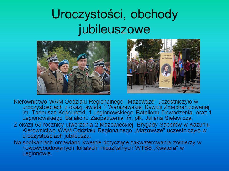 Uroczystości, obchody jubileuszowe Kierownictwo WAM Oddziału Regionalnego Mazowsze uczestniczyło w uroczystościach z okazji święta 1 Warszawskiej Dywizji Zmechanizowanej im.