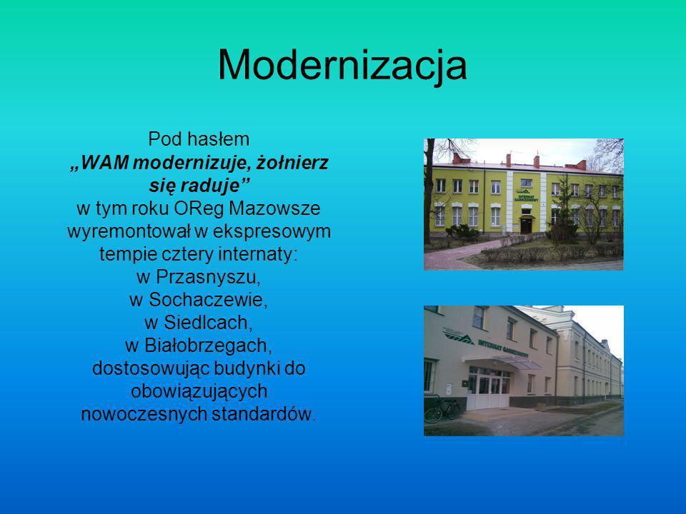 Modernizacja Pod hasłem WAM modernizuje, żołnierz się raduje w tym roku OReg Mazowsze wyremontował w ekspresowym tempie cztery internaty: w Przasnyszu, w Sochaczewie, w Siedlcach, w Białobrzegach, dostosowując budynki do obowiązujących nowoczesnych standardów.