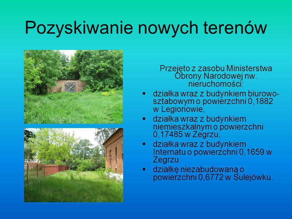 Pozyskiwanie nowych terenów Przejęto z zasobu Ministerstwa Obrony Narodowej nw.