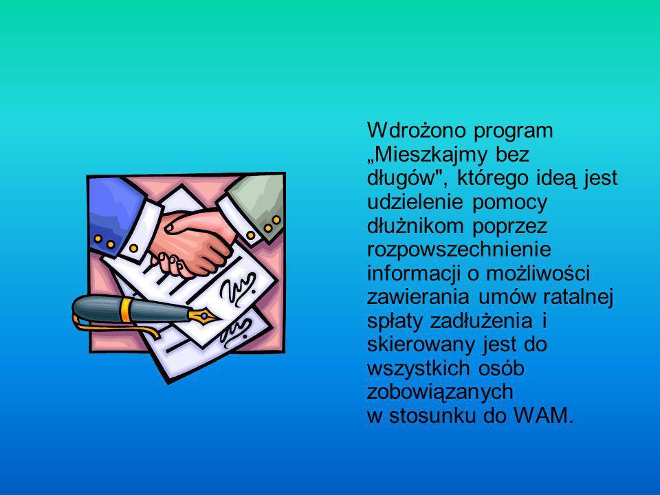 Wdrożono program Mieszkajmy bez długów , którego ideą jest udzielenie pomocy dłużnikom poprzez rozpowszechnienie informacji o możliwości zawierania umów ratalnej spłaty zadłużenia i skierowany jest do wszystkich osób zobowiązanych w stosunku do WAM.