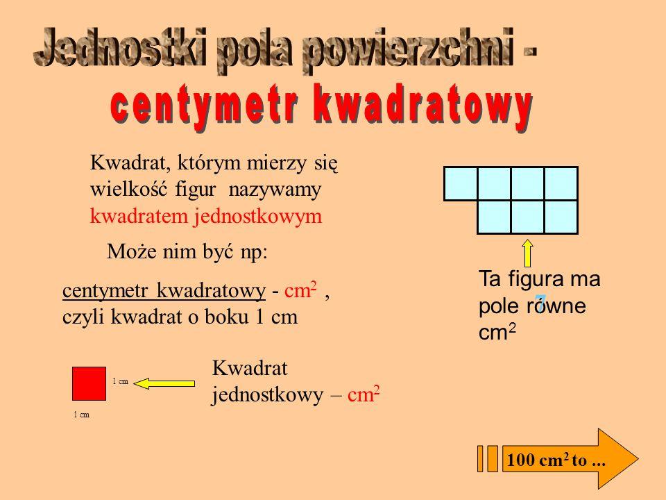 Milimetr kwadratowy (mm 2 ) Centymetr kwadratowy (cm 2 ) Decymetr kwadratowy (dm 2 ) Metr kwadratowy (m 2 ) Kilometr kwadratowy (km 2 ) DLA GRUNTÓW RO