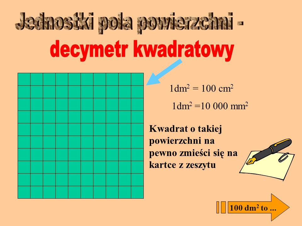 centymetr kwadratowy - cm 2, czyli kwadrat o boku 1 cm 1 cm Kwadrat jednostkowy – cm 2 Kwadrat, którym mierzy się wielkość figur nazywamy kwadratem je