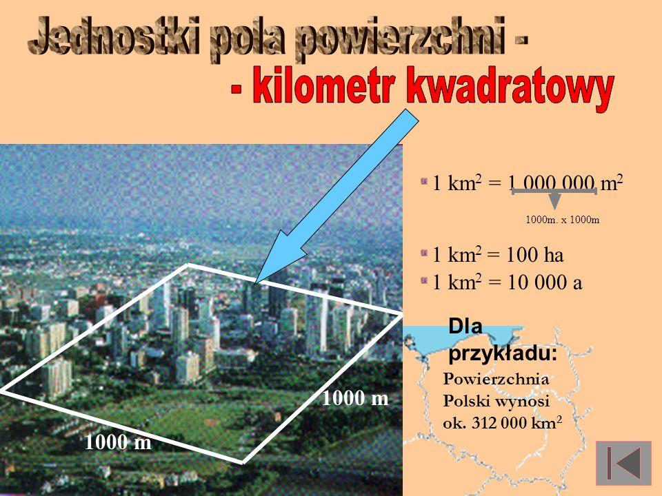 Hektar to kwadrat o boku 100 m 1 ha = 100m x 100m = 10 000 m 2 1 ha = 100 a 100 ha to... 100 m 100 m