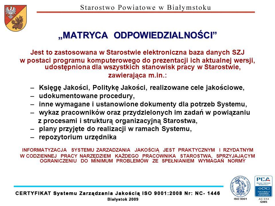 MATRYCA ODPOWIEDZIALNOŚCI Jest to zastosowana w Starostwie elektroniczna baza danych SZJ w postaci programu komputerowego do prezentacji ich aktualnej