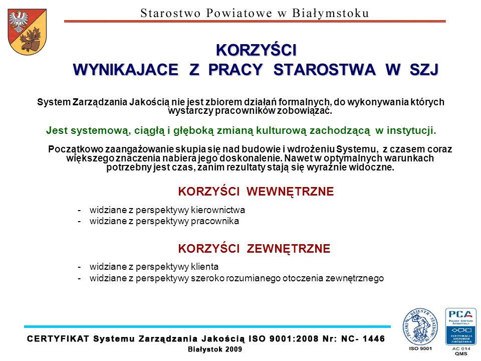 KORZYŚCI WYNIKAJACE Z PRACY STAROSTWA W SZJ System Zarządzania Jakością nie jest zbiorem działań formalnych, do wykonywania których wystarczy pracowni