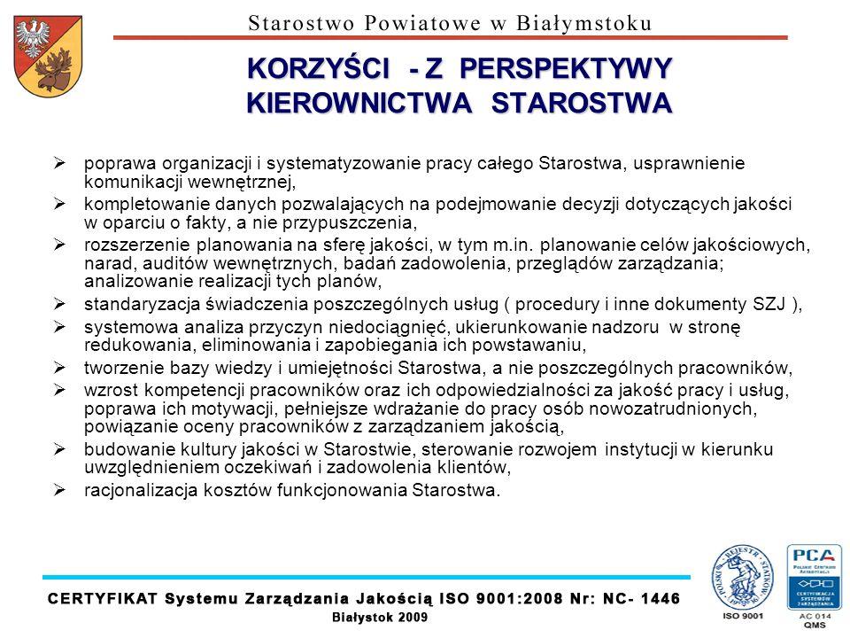 KORZYŚCI - Z PERSPEKTYWY KIEROWNICTWA STAROSTWA poprawa organizacji i systematyzowanie pracy całego Starostwa, usprawnienie komunikacji wewnętrznej, k