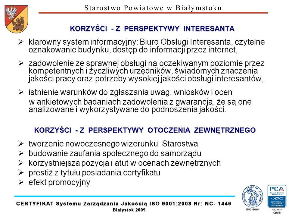 KORZYŚCI - Z PERSPEKTYWY INTERESANTA klarowny system informacyjny: Biuro Obsługi Interesanta, czytelne oznakowanie budynku, dostęp do informacji przez