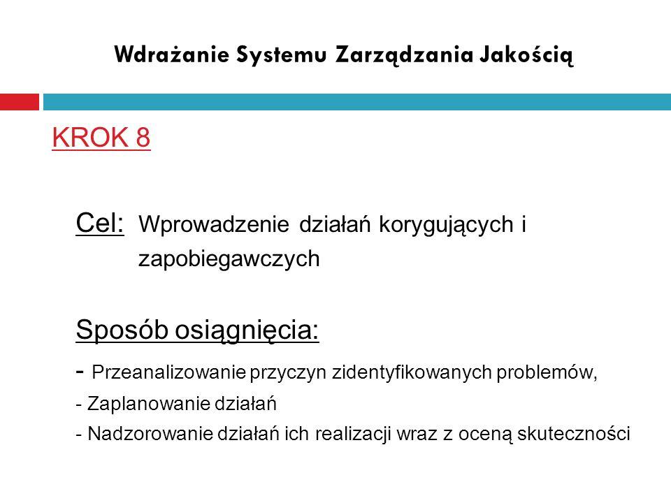 Wdrażanie Systemu Zarządzania Jakością KROK 8 Cel: Wprowadzenie działań korygujących i zapobiegawczych Sposób osiągnięcia: - Przeanalizowanie przyczyn