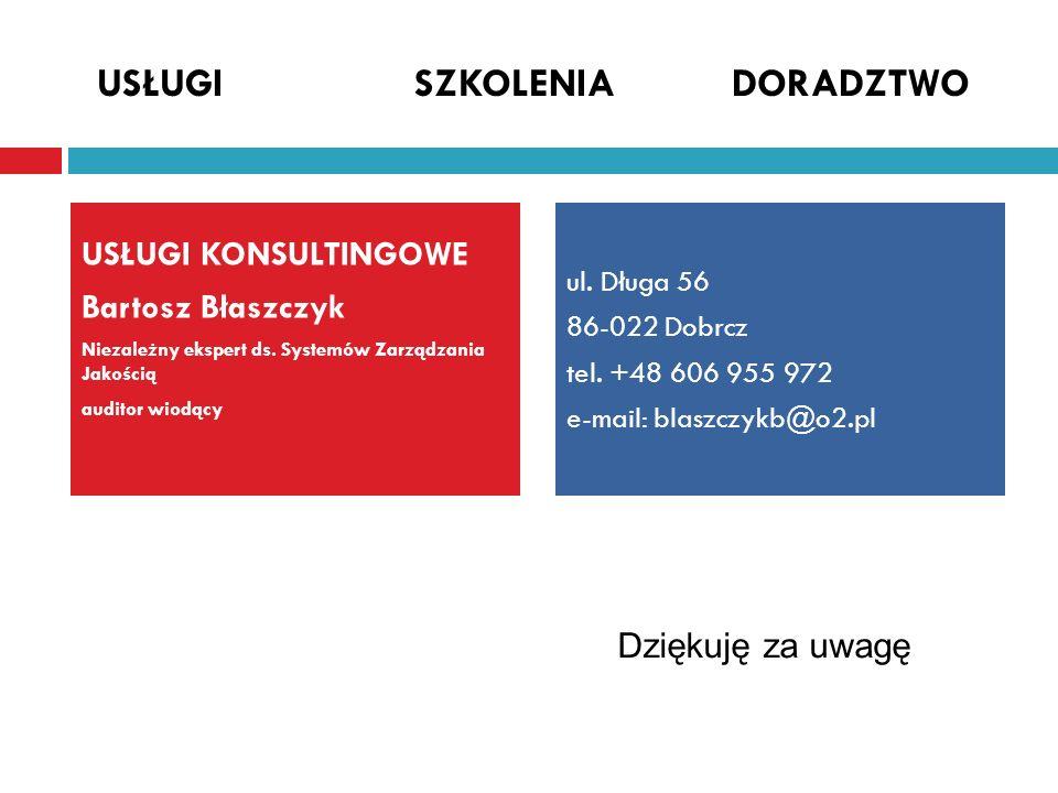 USŁUGI KONSULTINGOWE Bartosz Błaszczyk Niezależny ekspert ds. Systemów Zarządzania Jakością auditor wiodący USŁUGISZKOLENIADORADZTWO ul. Długa 56 86-0