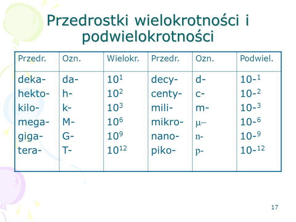 17 Przedrostki wielokrotności i podwielokrotności Przedr.Ozn.Wielokr.Przedr.Ozn.Podwiel.