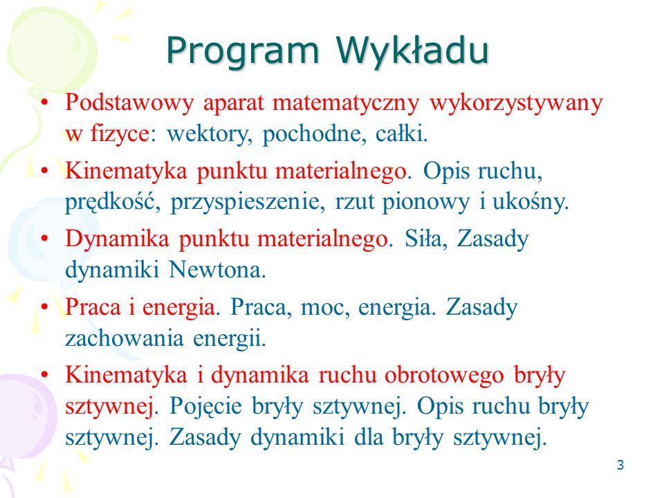 3 Program Wykładu Podstawowy aparat matematyczny wykorzystywany w fizyce: wektory, pochodne, całki.
