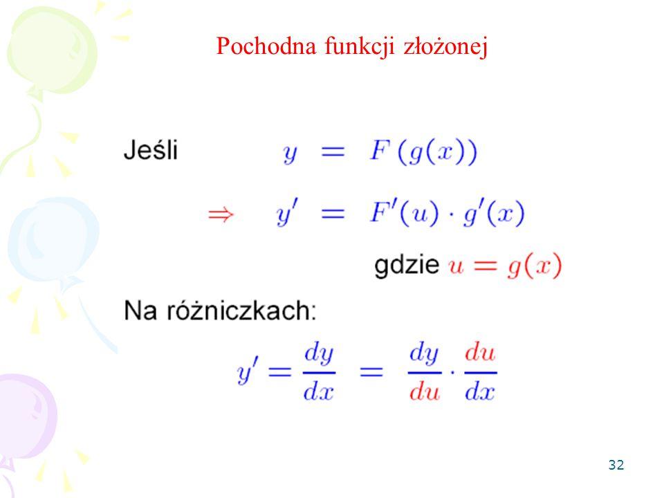 32 Pochodna funkcji złożonej