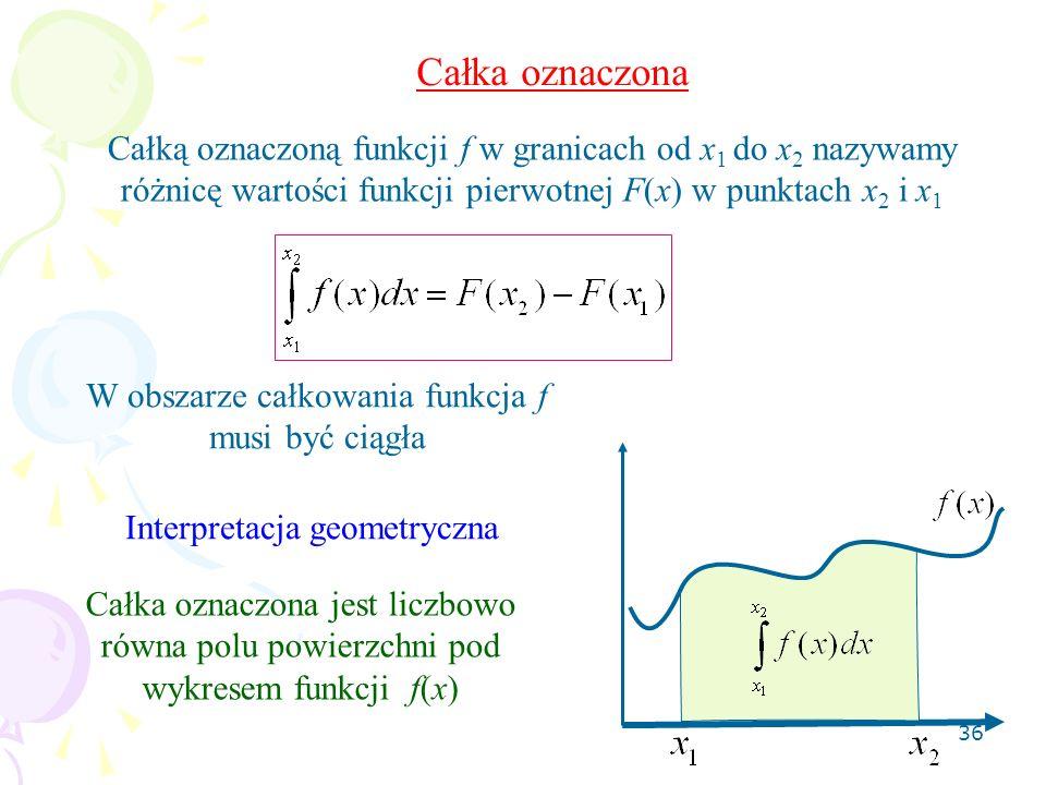 36 Całka oznaczona Całką oznaczoną funkcji f w granicach od x 1 do x 2 nazywamy różnicę wartości funkcji pierwotnej F(x) w punktach x 2 i x 1 W obszarze całkowania funkcja f musi być ciągła Interpretacja geometryczna Całka oznaczona jest liczbowo równa polu powierzchni pod wykresem funkcji f(x)