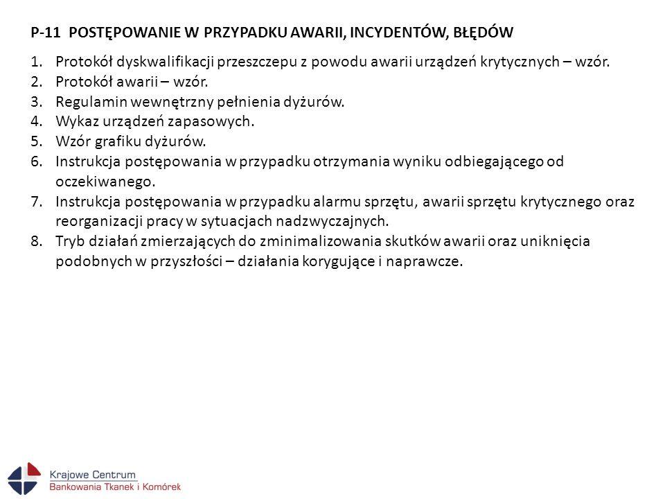 P-11 POSTĘPOWANIE W PRZYPADKU AWARII, INCYDENTÓW, BŁĘDÓW 1.Protokół dyskwalifikacji przeszczepu z powodu awarii urządzeń krytycznych – wzór. 2.Protokó