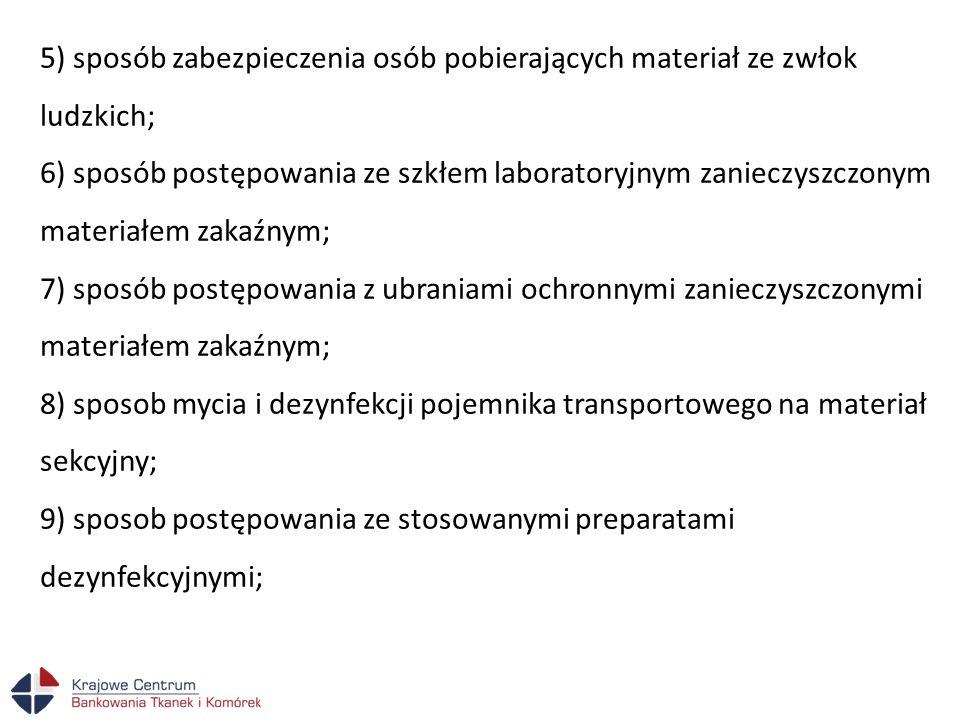 5) sposób zabezpieczenia osób pobierających materiał ze zwłok ludzkich; 6) sposób postępowania ze szkłem laboratoryjnym zanieczyszczonym materiałem za