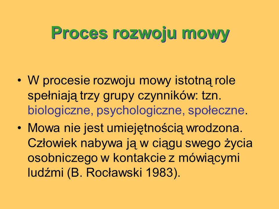 Proces rozwoju mowy W procesie rozwoju mowy istotną role spełniają trzy grupy czynników: tzn.