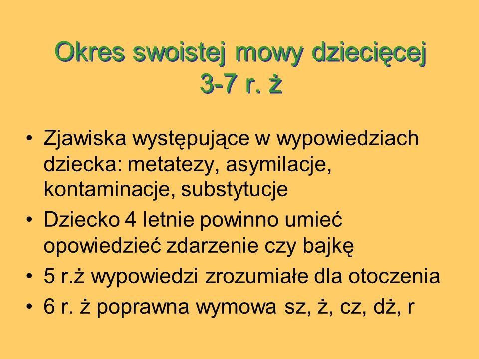 Okres swoistej mowy dziecięcej 3-7 r.ż Okres swoistej mowy dziecięcej 3-7 r.