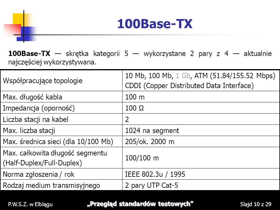 P.W.S.Z. w Elblągu Przegląd standardów testowych Slajd 10 z 29 100Base-TX 100Base-TX skrętka kategorii 5 wykorzystane 2 pary z 4 aktualnie najczęściej