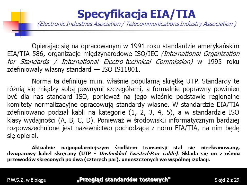 P.W.S.Z. w Elblągu Przegląd standardów testowych Slajd 2 z 29 Specyfikacja EIA/TIA (Electronic Industries Asociation / Telecommunications Industry Ass