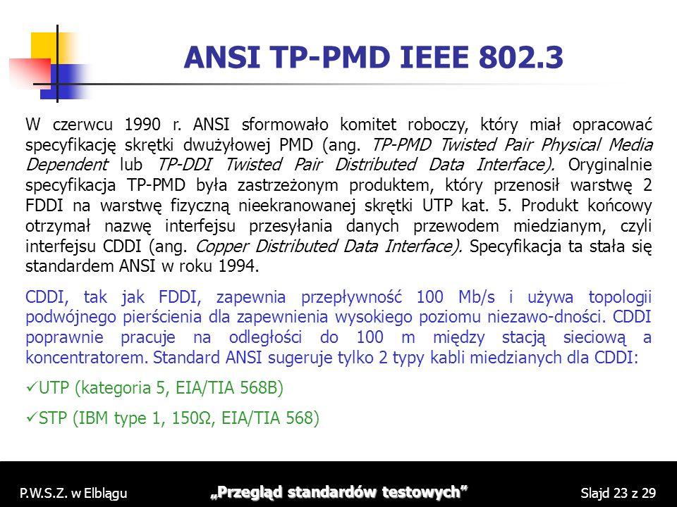 P.W.S.Z. w Elblągu Przegląd standardów testowych Slajd 23 z 29 ANSI TP-PMD IEEE 802.3 W czerwcu 1990 r. ANSI sformowało komitet roboczy, który miał op