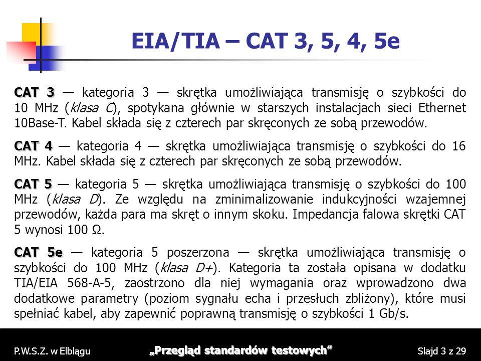 P.W.S.Z. w Elblągu Przegląd standardów testowych Slajd 3 z 29 EIA/TIA – CAT 3, 5, 4, 5e CAT 3 CAT 3 kategoria 3 skrętka umożliwiająca transmisję o szy