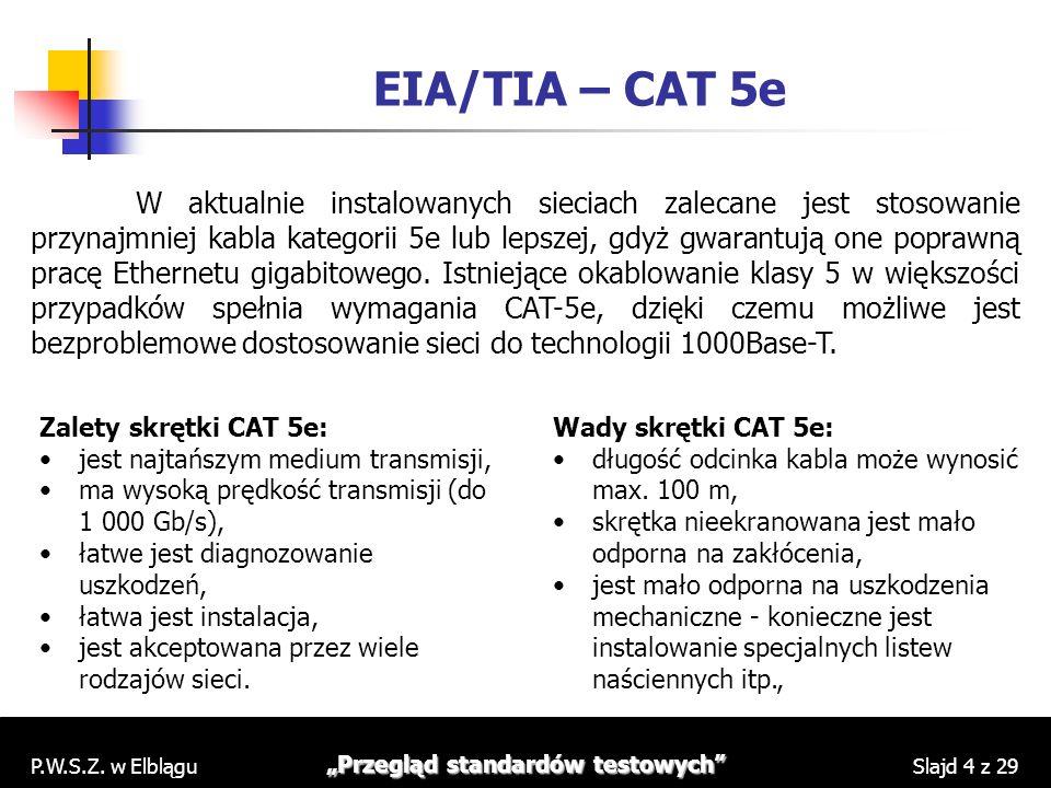P.W.S.Z. w Elblągu Przegląd standardów testowych Slajd 4 z 29 EIA/TIA – CAT 5e W aktualnie instalowanych sieciach zalecane jest stosowanie przynajmnie