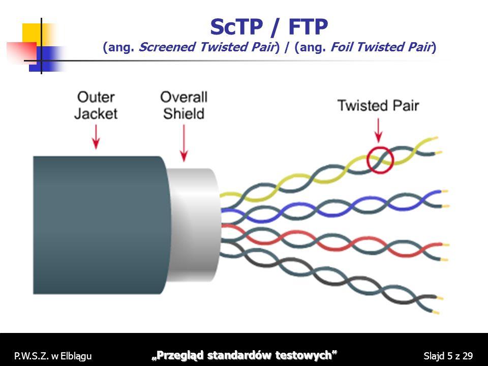 P.W.S.Z. w Elblągu Przegląd standardów testowych Slajd 5 z 29 ScTP / FTP (ang. Screened Twisted Pair) / (ang. Foil Twisted Pair)