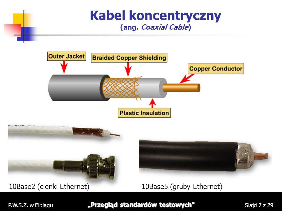 P.W.S.Z. w Elblągu Przegląd standardów testowych Slajd 7 z 29 Kabel koncentryczny (ang. Coaxial Cable) 10Base2 (cienki Ethernet)10Base5 (gruby Etherne